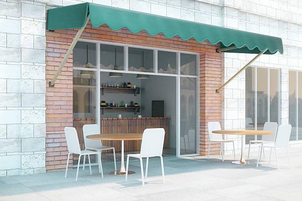 café außenansicht von der seite - kaffee shop stock-fotos und bilder