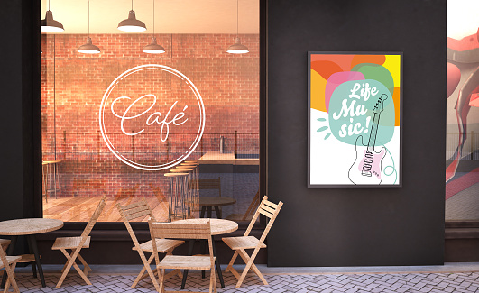 cafe facade mockup with branding wall and live music poster