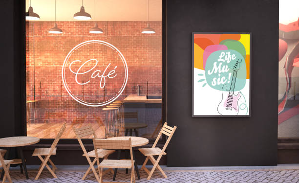 cafe facade mockup with branding wall and live music poster stock photo
