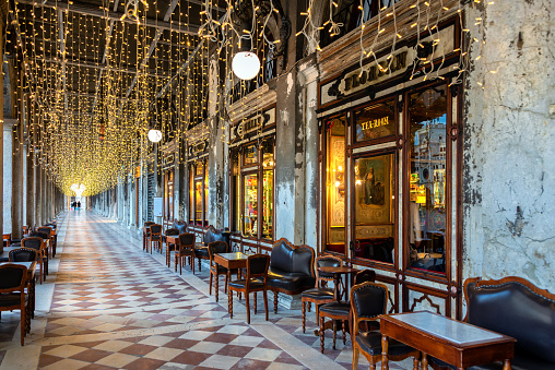 Cafe Florian on the Piazza San Marco or St Mark`s Square in Venice