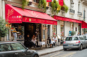 istock Cafe Flottes in central Paris with people eating outside 623349632
