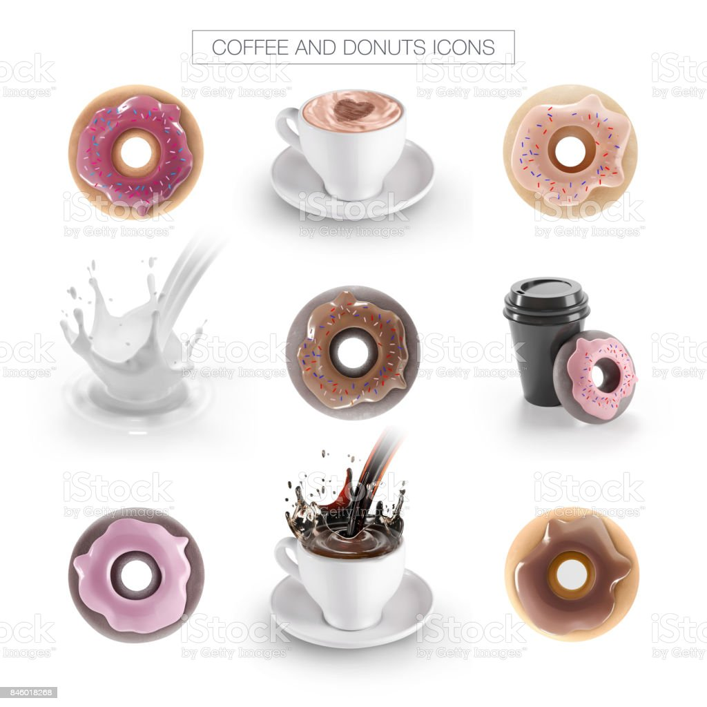 Cafe icons, coffee and donuts stock photo