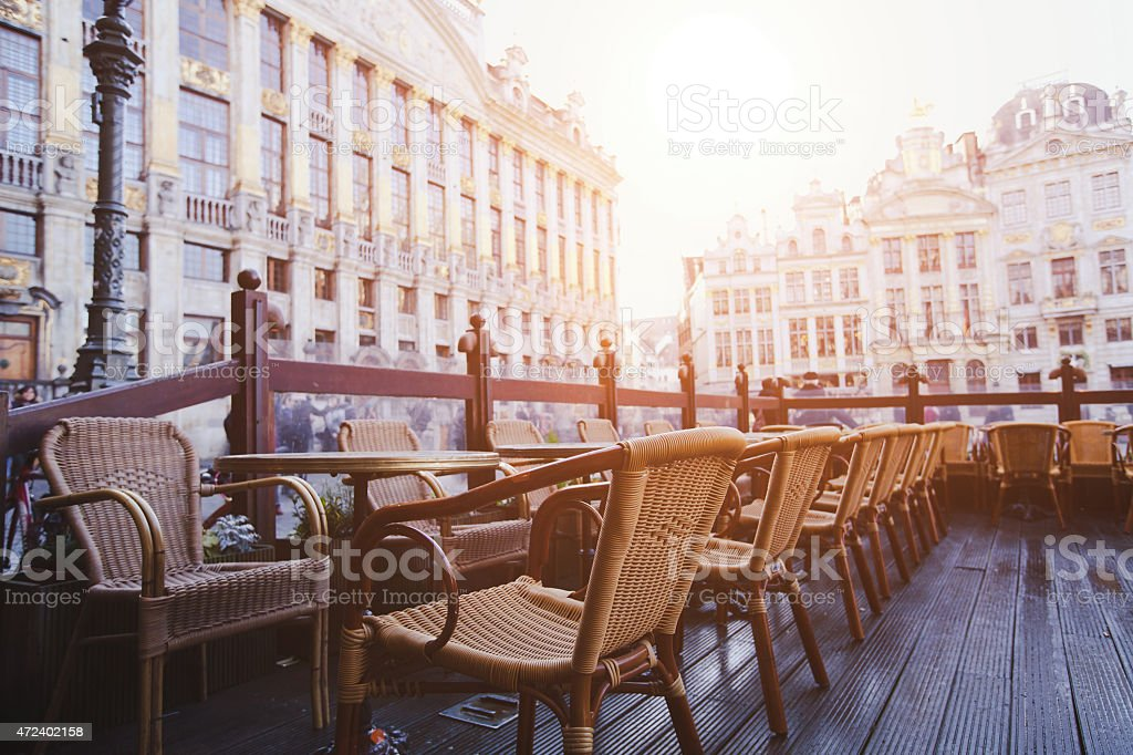 cafe in Brussels, Belgium stock photo