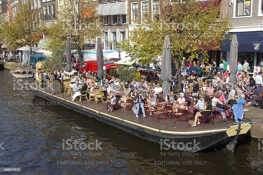 Cafe in Leiden, Holland stock photo