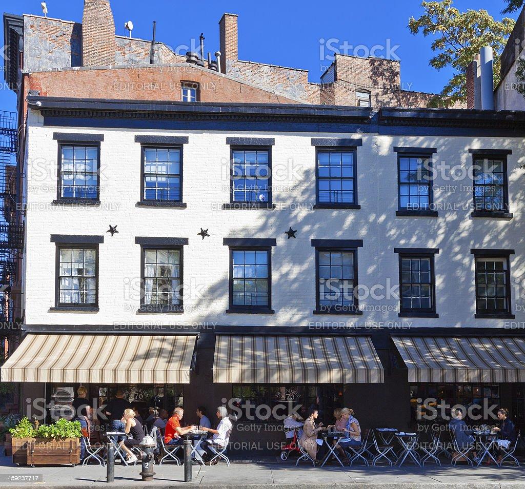 Cafe in West Village, Manhattan, New York. stock photo