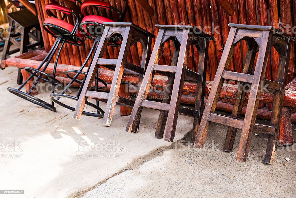 Cafe interior - bar chairs outdoors stock photo