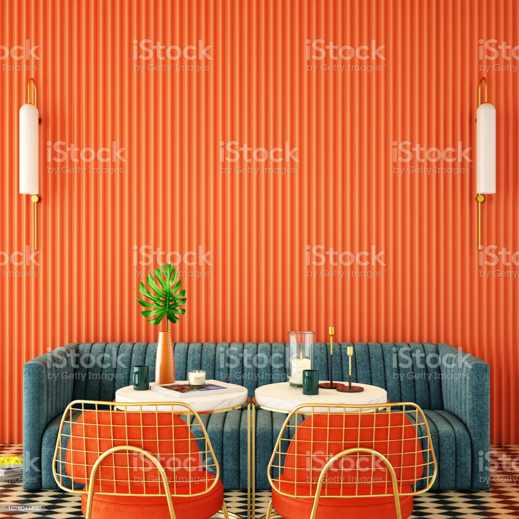 Cafe Interior Design About Complementary Color Concept3d Rendering3d Illustration Stock Photo Download Image Now Istock