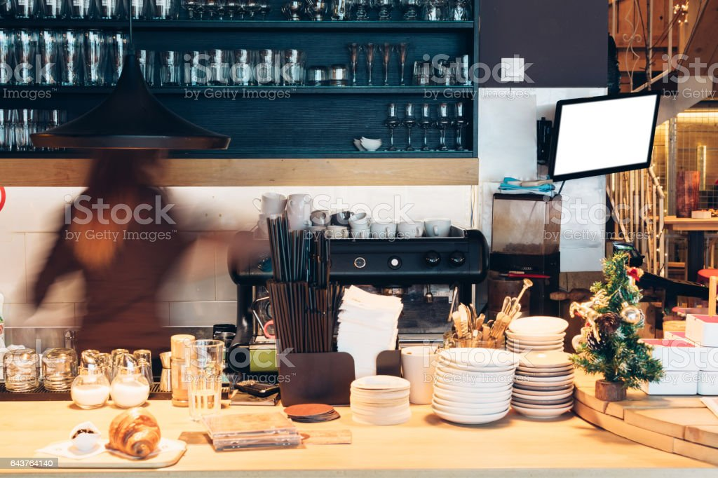 Cafe interior with bar counter stock photo