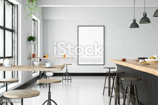 Modern cafe bar interior with empty frame on the wall