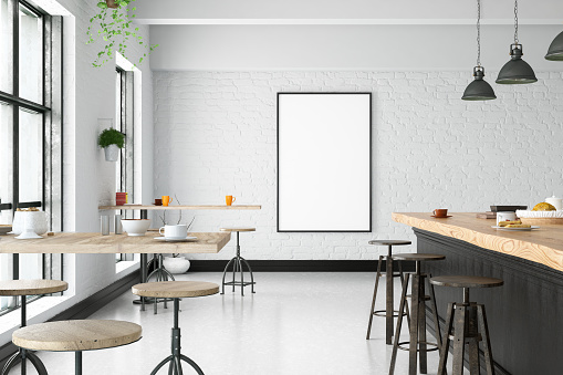 istock Cafe Interior with Blank Frame 941103754