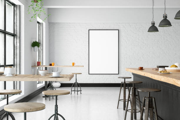 Cafe Interior with Blank Frame stock photo