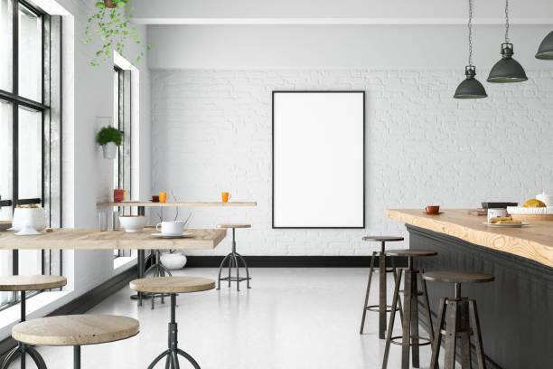 咖啡屋內帶空白框 - 茶餐廳 個照片及圖片檔
