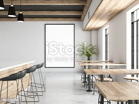 istock Cafe Interior with Blank Frame 941103756