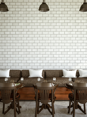 istock Cafe Interior with Brick Wall 1133611878