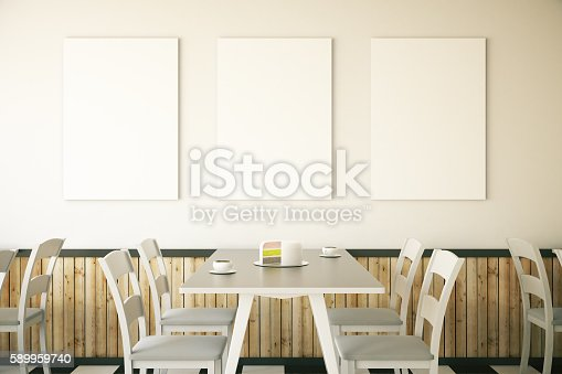 istock Cafe interior with three posters 589959740
