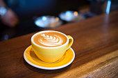 Cafe latte art on counter