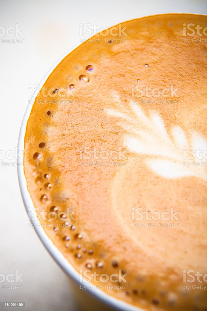 Cafe Latte Foam Art in a To-Go Cup royalty-free stock photo