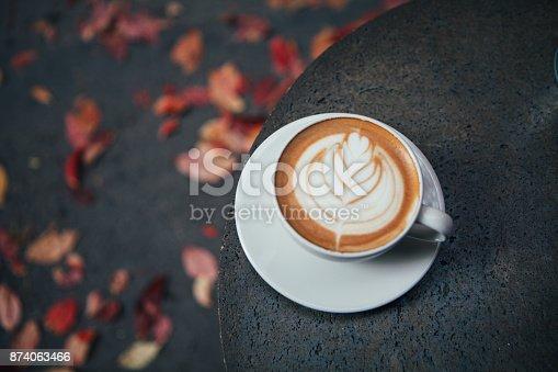 Cafe Latte in Autumn