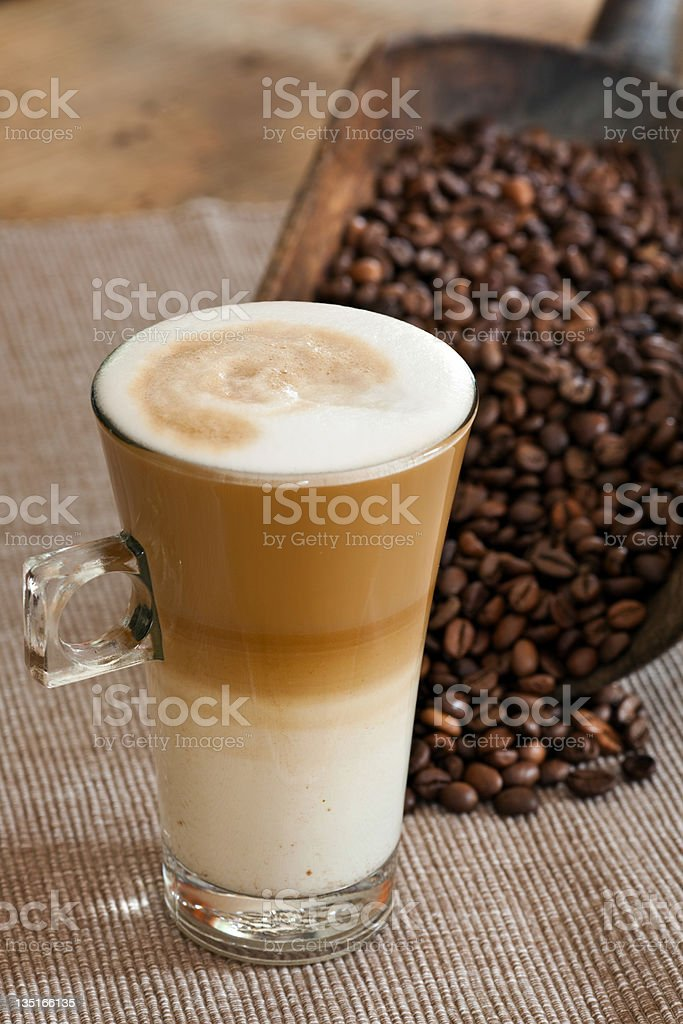 Cafe Latte with Coffee beans stock photo
