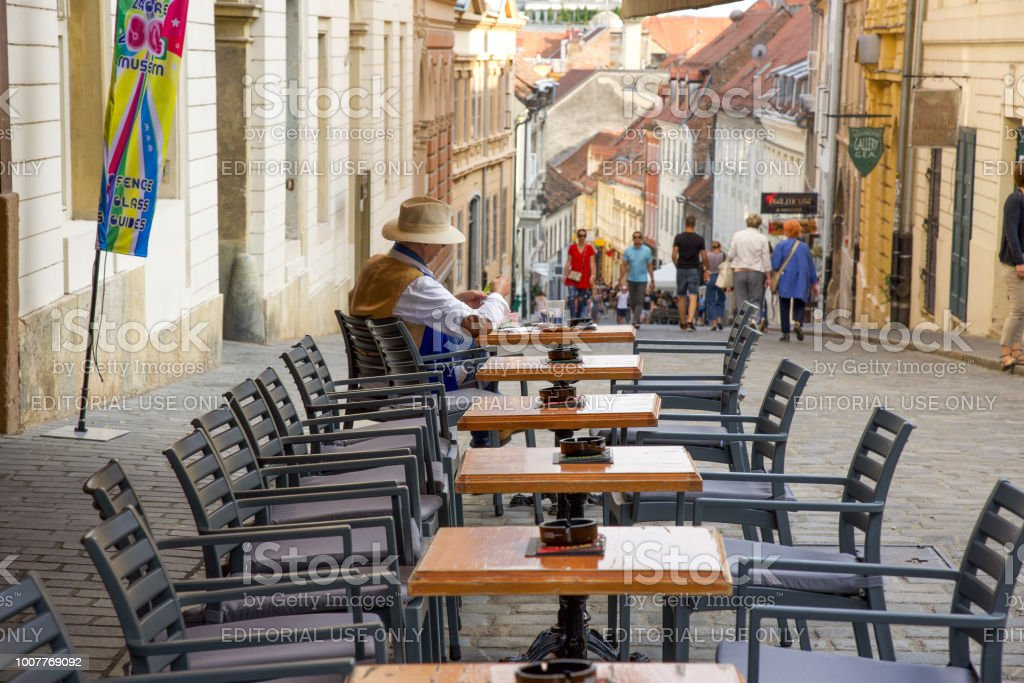 Cafe life in Zagreb Old Town stock photo