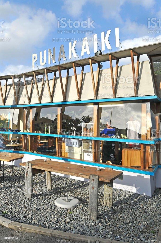 Cafe near pancake rock, Punakaiki, New Zealand stock photo