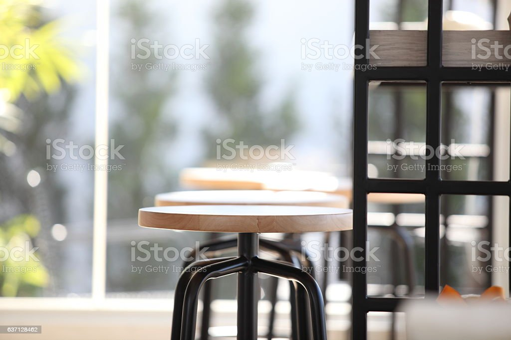Cafe new and luxury with sunny morning stock photo