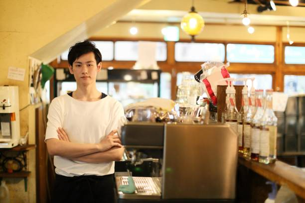 Cafe of the Japanese male manager stock photo