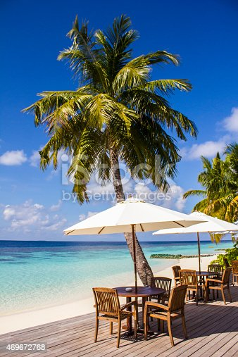 istock Cafe on a tropical beach in the Maldives 469672768