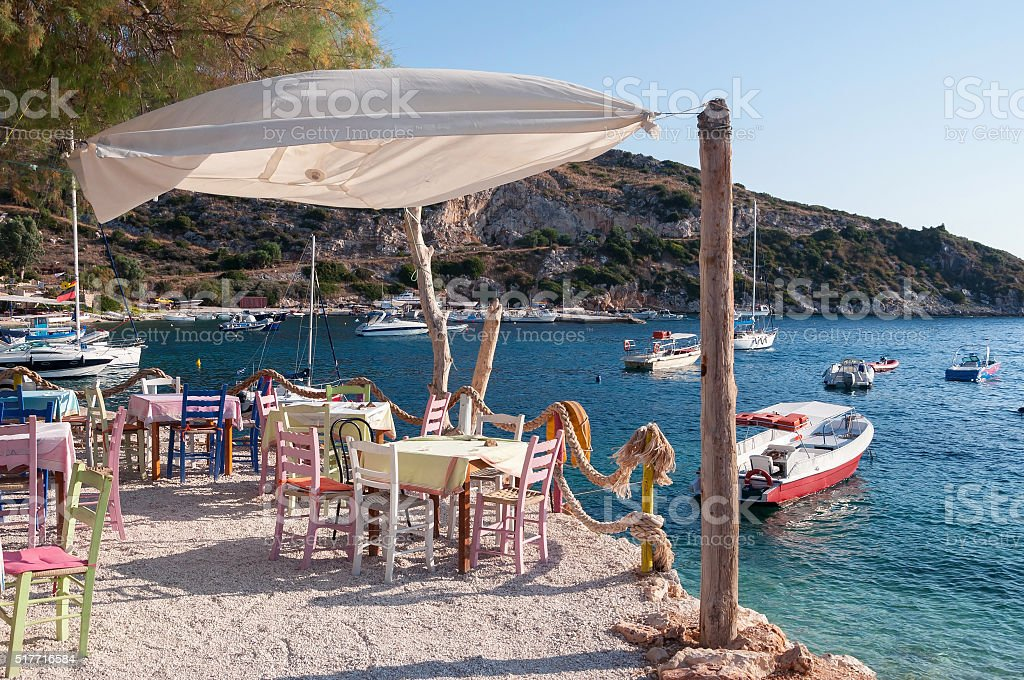 Cafe on the beach at Agios Nikolaos port, Zakynthos stock photo