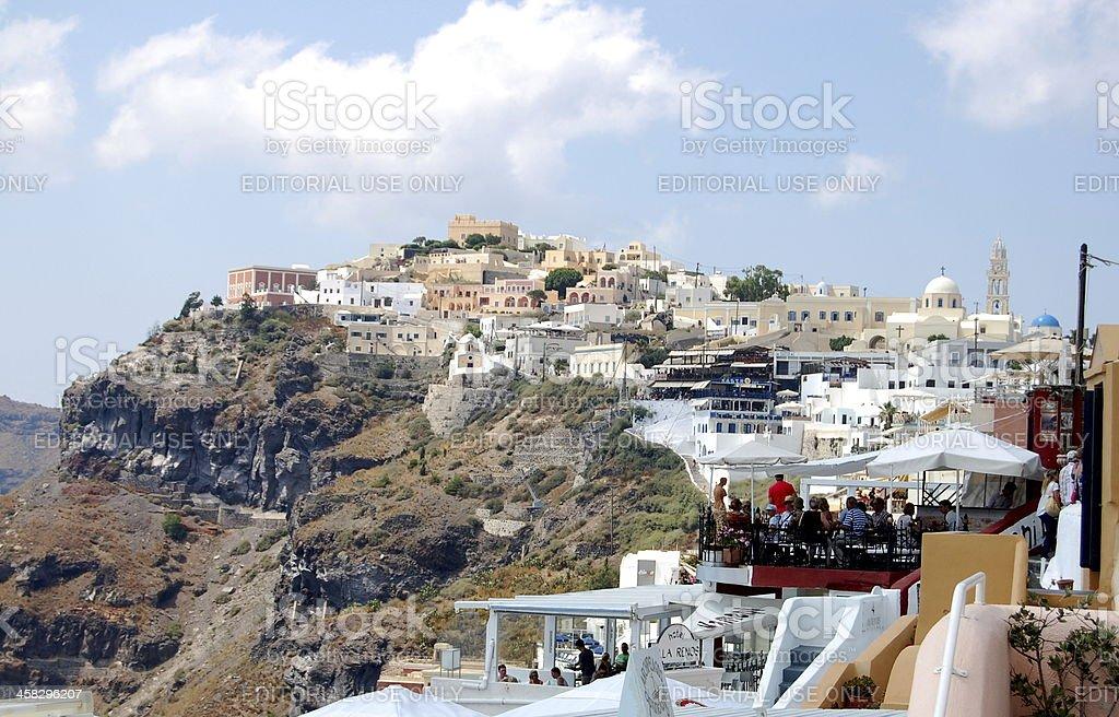 Cafe on the island of Santorini royalty-free stock photo