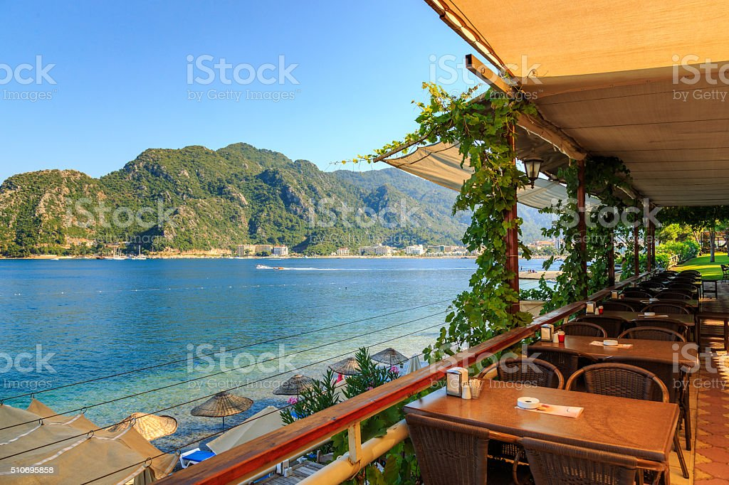 cafe on the street, outdoor restaurant stock photo