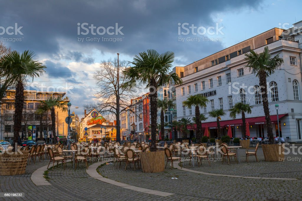 BREMEN, GERMANY - 16 APR 2016; Cafe on the street stock photo