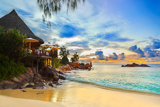 Cafe on tropical beach at sunset stock photo