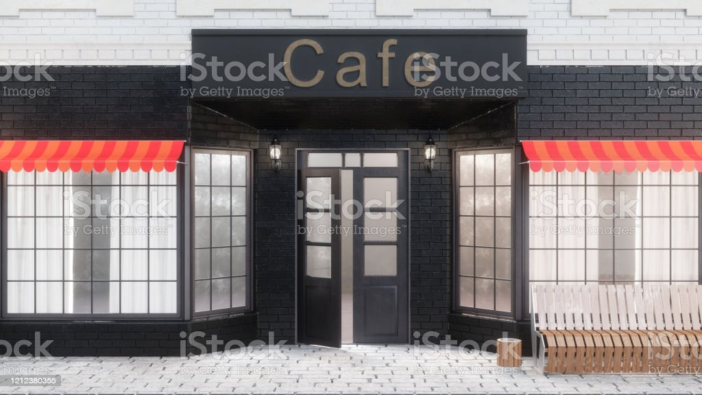 Cafe Or Coffee Shop Exterior Of A Building Near The Road Restaurant Where You Can Eat The View From The Street Is A Bench With A Garbage Bin Street Lights 3d Illustration