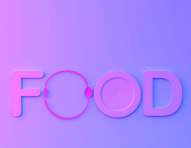 cafe or restaurant emblem. food word sign logo with spoon and fork in bvibrant bold gradient purple and blue holographic colors background. minimal food concept. - food logo stock photos and pictures