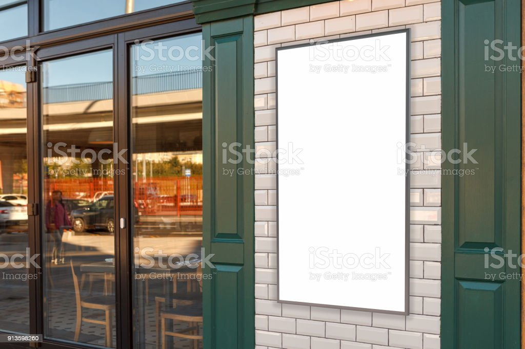 Cafe poster exterior stock photo