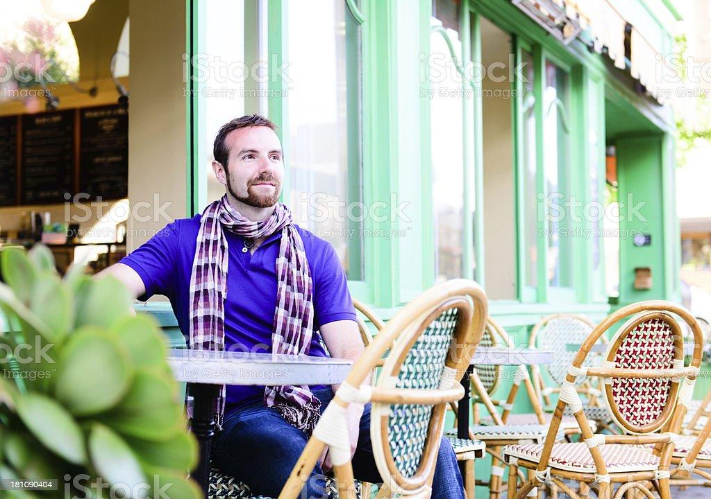 Cafe - Reflective Male royalty-free stock photo