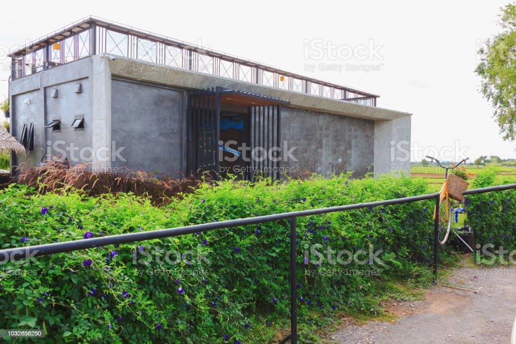 cafe shop build by concrete, loft style loft stock photo