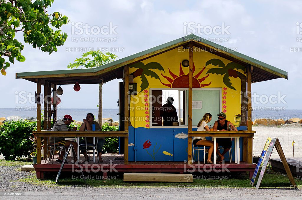 Cafe shop in Rarotonga Cook Islands stock photo