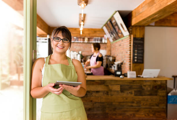 Cafe Shop Owner stock photo