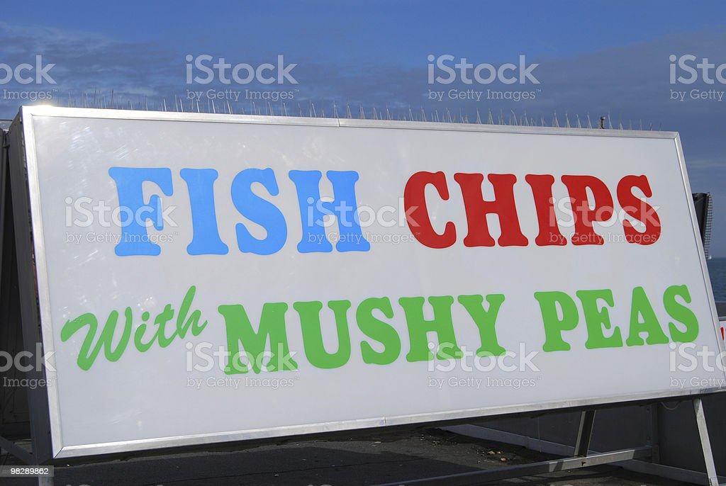 Cafe Sign for Fish and Chips royalty-free stock photo