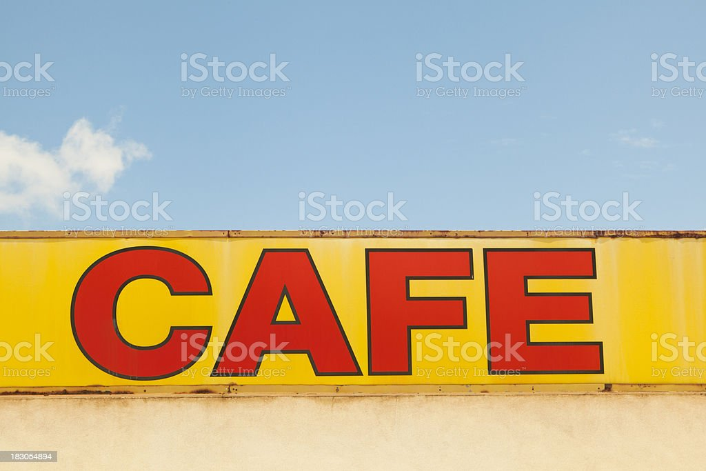 Cafe Sign, Route 66, Grunge royalty-free stock photo