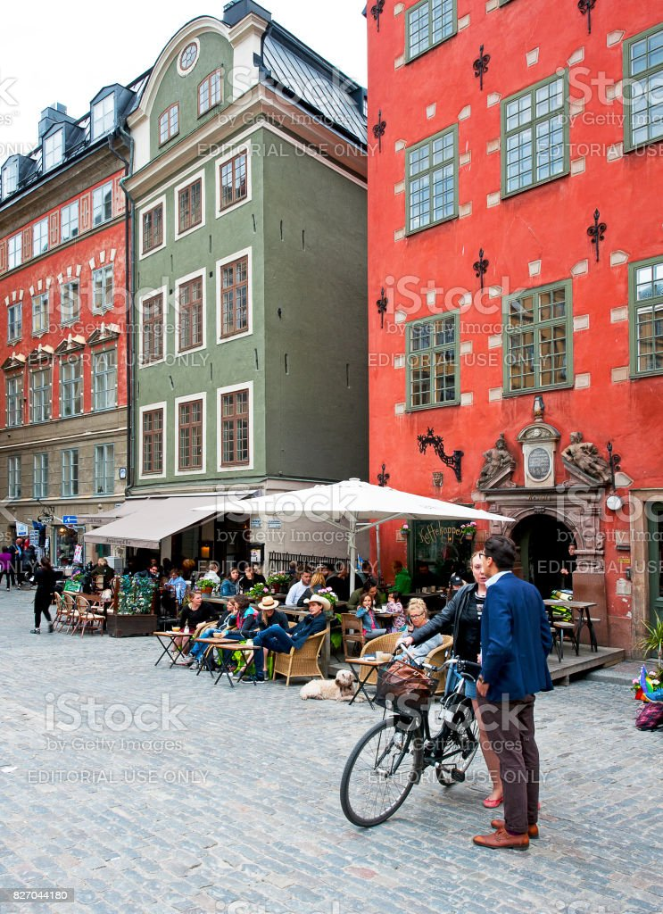 Cafe society, Stortorget Main Square, Gamla Stan, Stockholm, Sweden stock photo