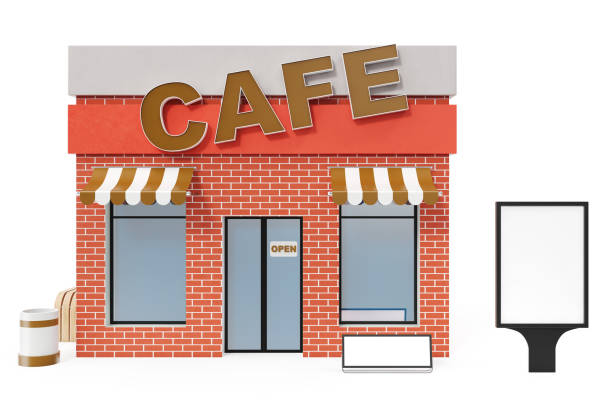 Cafe Store with copy space board isolated on white background. Modern shop buildings, store facades. Exterior market. Exterior facade store building, 3D rendering stock photo