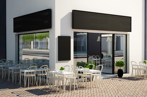 3d rendering of modern cafe store exterior with terrace