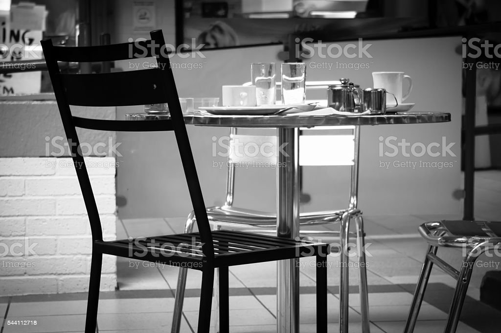 Cafe table and chair stock photo