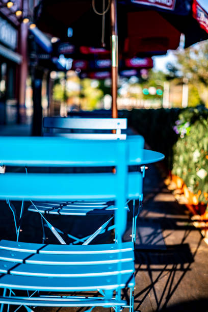 Cafe table with chairs stock photo