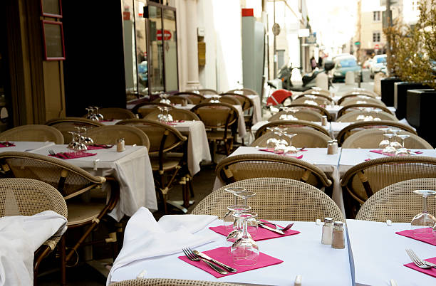 Cafe tables in Lyon, France stock photo