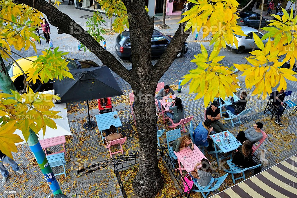 Cafe terrace in Palermo, Buenos Aires, Argentina stock photo
