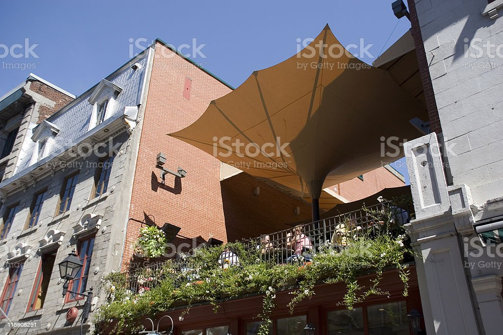 Cafe terrace restaurant in Old Montreal stock photo